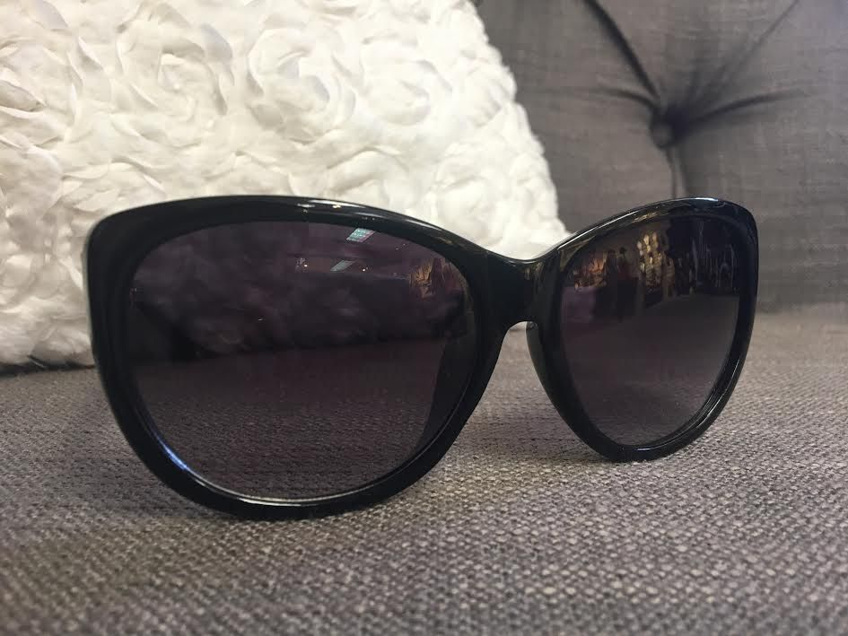 Glossy Black Sunglasses with Gold Chain Detail
