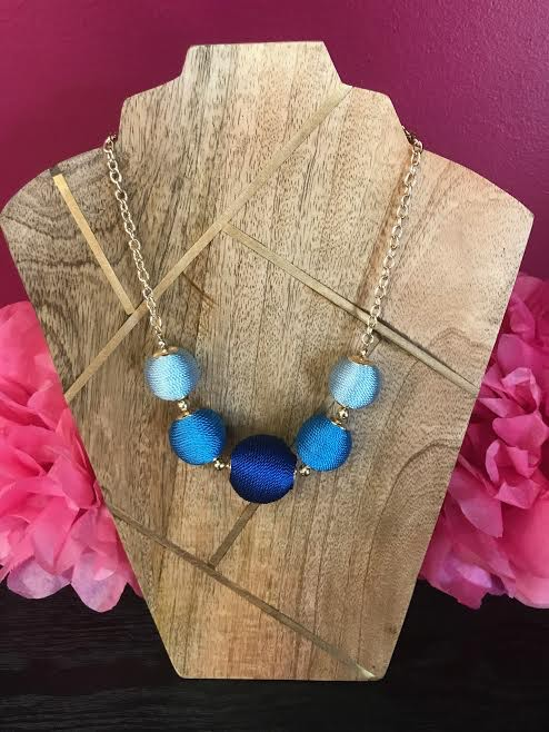 Blue Cord Wrapped Ball Necklace