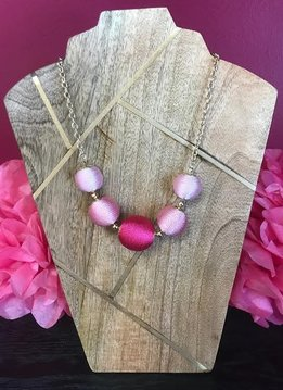 Pink Cord Wrapped Ball Necklace
