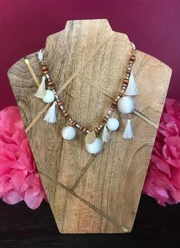 White Beaded, Tassel, and Ball Necklace