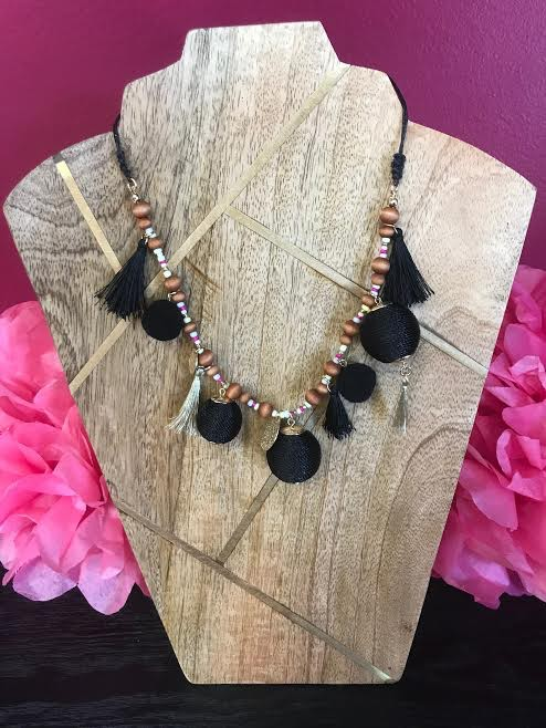 Black Necklace with Beads, Tassels, and Black Balls