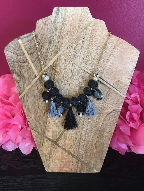 Black Cord Wrapped Ball and Tassel Necklace