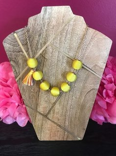 Yellow Cord Wrapped Ball Necklace with Tassel