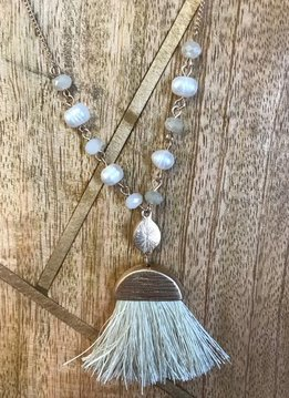 Long Ivory and Pearl Necklace with Fringe Tassel