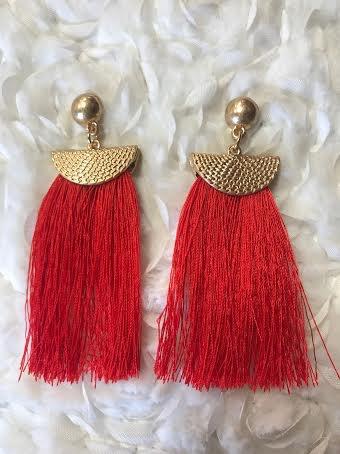 Gold and Red Fringe Tassel Earring