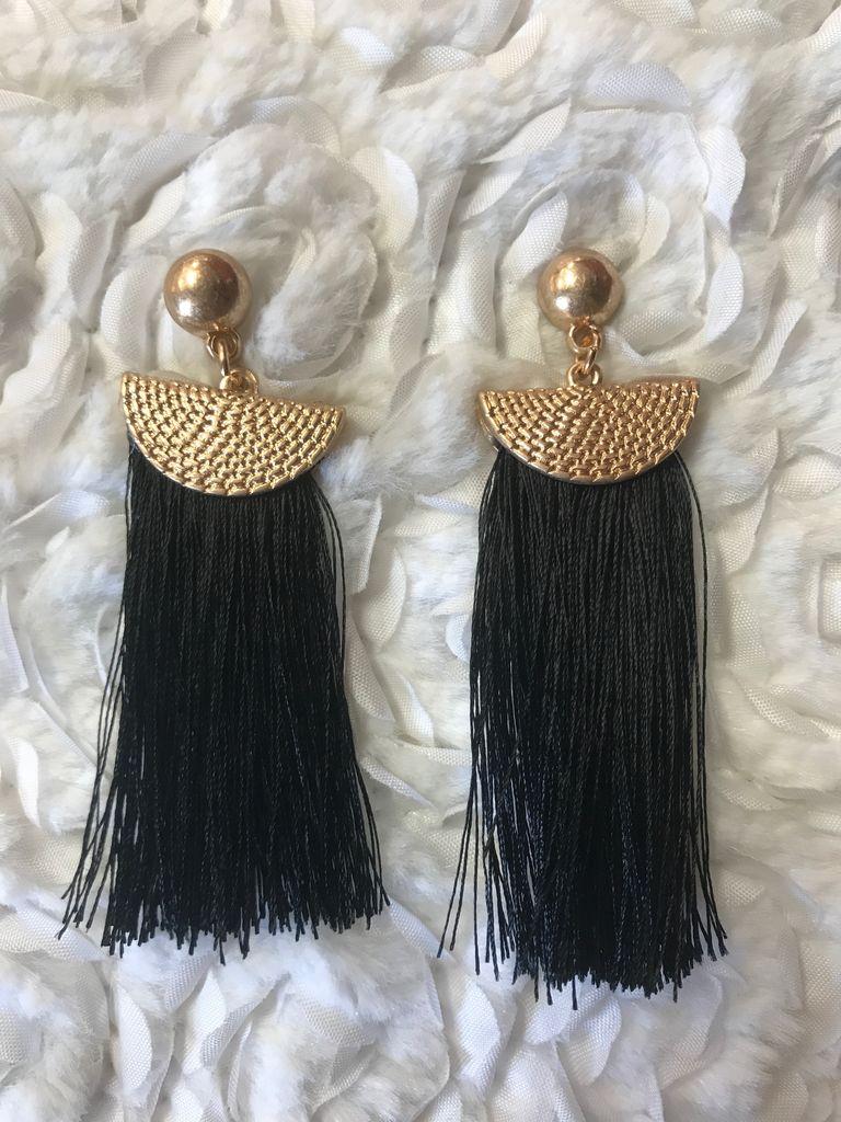 Gold and Black Fringe Tassel Earring