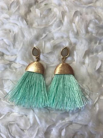 Gold and Mint Fringe Tassel Earrings