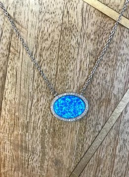 Sterling Silver Oval Blue Opal and CZ Neckolace