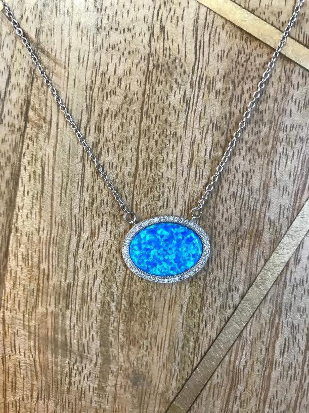 Sterling Silver Oval Blue Opal and CZ Neckolace