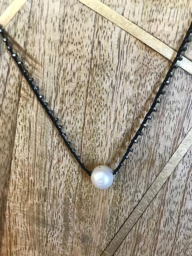 Maui Hand Made White Pearl Choker with Braided Black Bead Rope