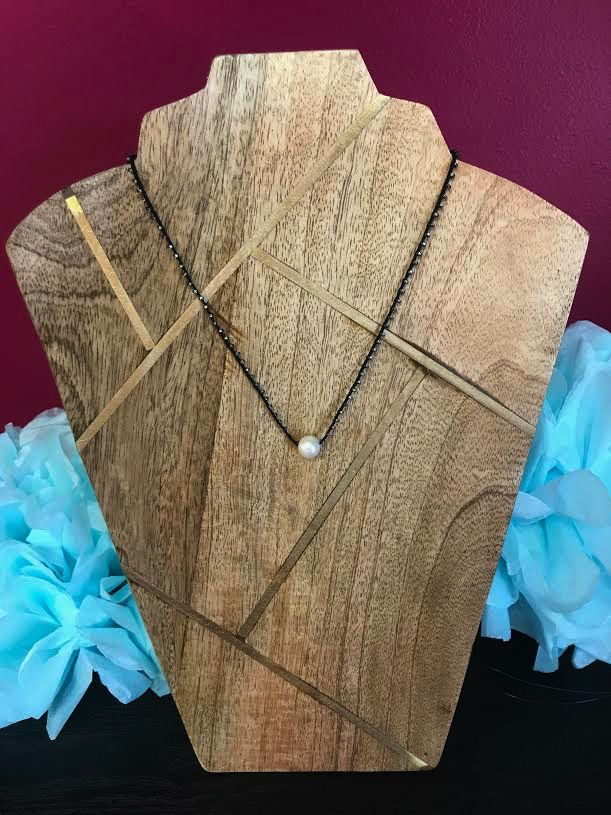 Maui Hand Made White Pearl Choker with Braided Black Bead Rope