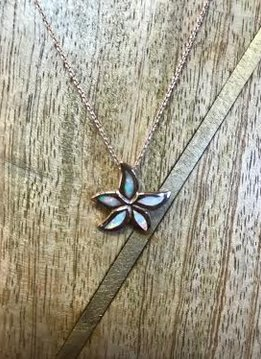 Sterling Rose Gold Necklace with White Opal Starfish Pendant