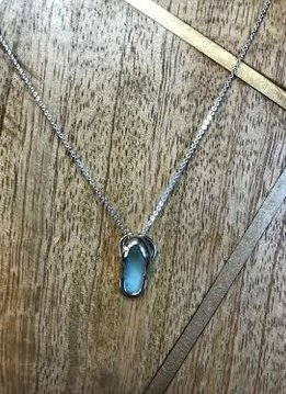 Sterling Silver Necklace with Larimar Flip Flop Pendant