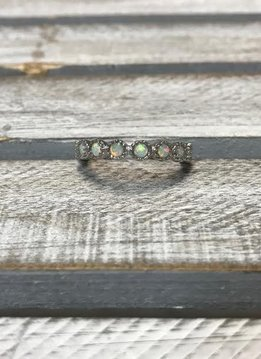 Sterling Silver with Round White Opal Eternity Band, Size 5
