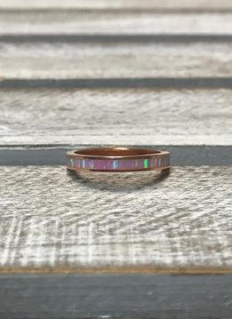 Sterling Silver Rose Gold Plated Pink Opal Ring, Size 7