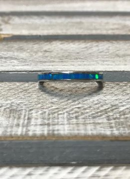 Sterling Silver and Blue Opal Ring, Size 8