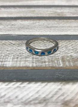 Sterling Silver with Blue Opal Cut Out Ring, Size 7