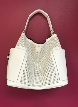 White Lazer Cut Slouchy Purse