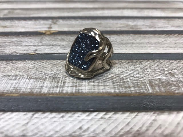 Hand Crafted Blue Druzy Sterling Ring, Sixe 6