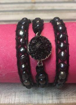 Handmade Leather, Pearl and Black Druzy Wrap Bracelet