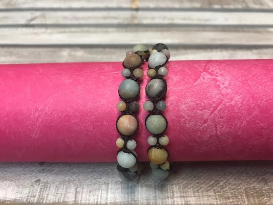 Handmade Brown Cord and Matte Amazonite Bead Wrap Bracelet