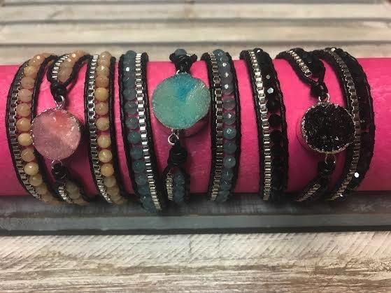 Handmade Leather and Druzy Black Crystal Wrap Bracelet
