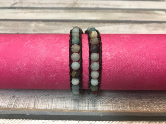 Handmade Brown Leather and Matte Amazonite Bead Wrap Bracelet