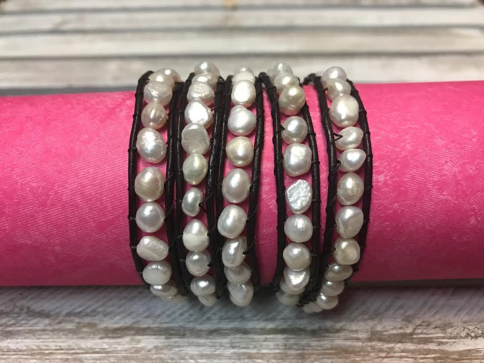 Handmade Dark Brown Leather and White Pearl Wrap Bracelet