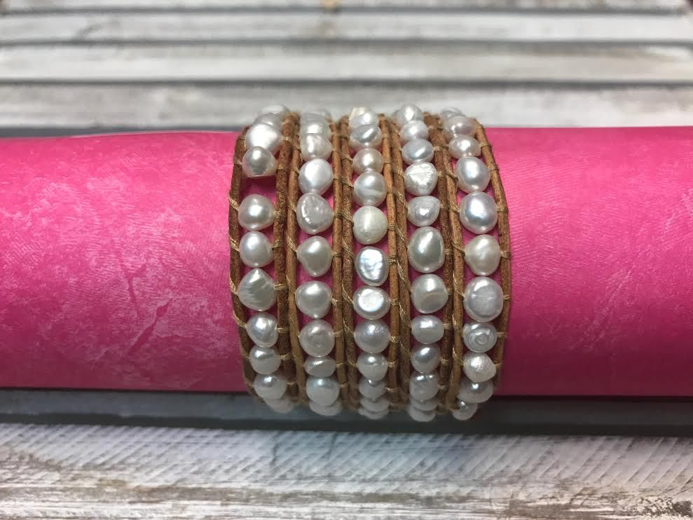 Handmade Tan Leather and White Pearl Wrap Bracelet