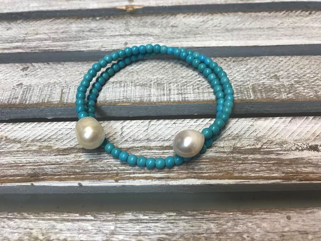 Handmade Turquoise and Pearl Bangle