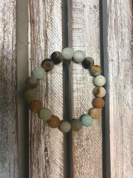 Handmade Matte Amazonite Bead Stretch Bracelet