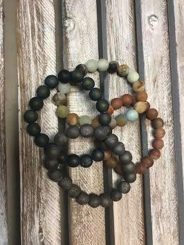 Handmade Tan Druzy Bead Stretch Bracelet
