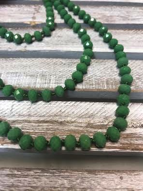 Handmade Lime Green Crystal Bead Wrap Necklace