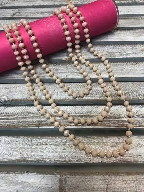 Handmade Blush Crystal Bead Wrap Necklace