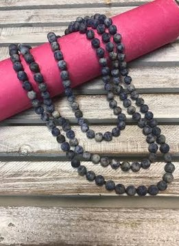 Handmade Matte Blue Marbled Bead Wrap Necklace