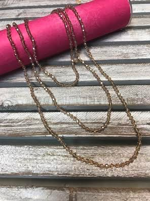 Handmade Small Champaign Crystal Bead Wrap Necklace