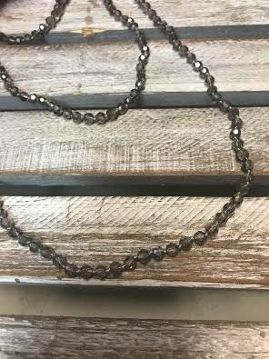 Handmade Small Silver Crystal Bead Wrap Necklace