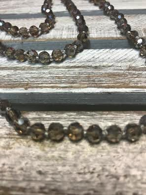 Handmade Medium Silver Crystal Bead Wrap Necklace