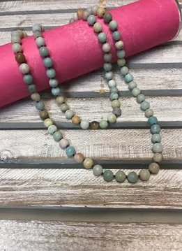 Handmade Matte Amazonite Bead Wrap Necklace