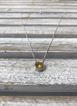 November Halo Birthstone Necklace