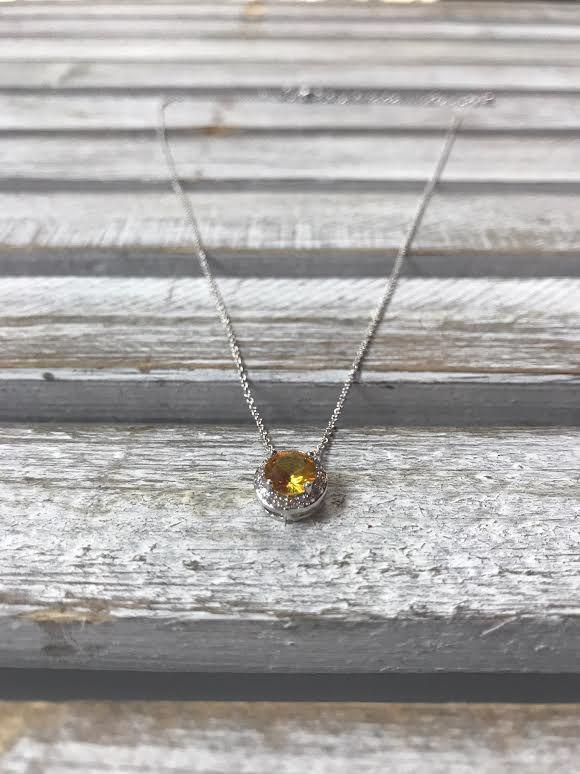 November Halo Birthstone Necklace