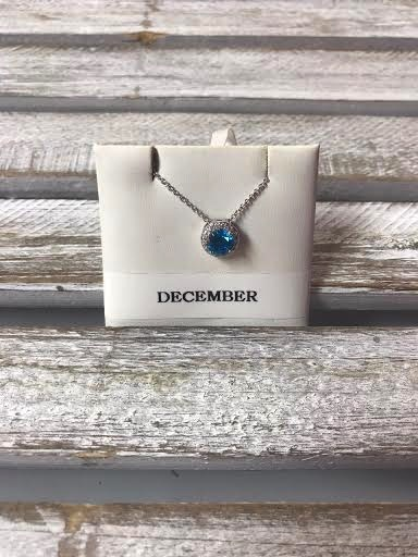 December Halo Birthstone Necklace