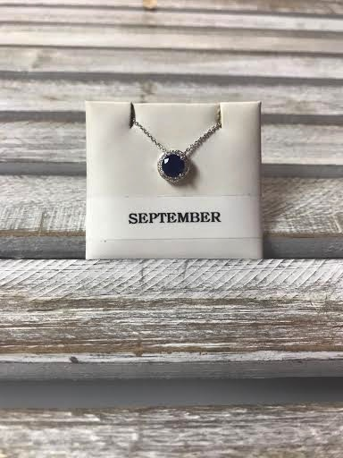 September Halo Birthstone Necklace