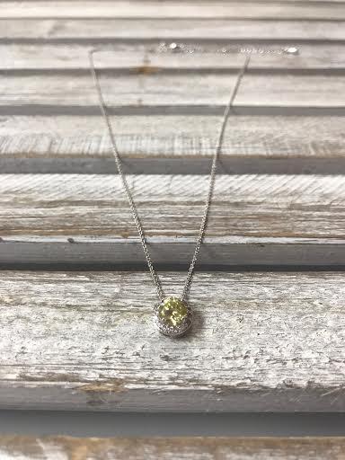 August Halo Birthstone Necklace