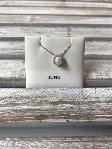 June Halo Birthstone Necklace