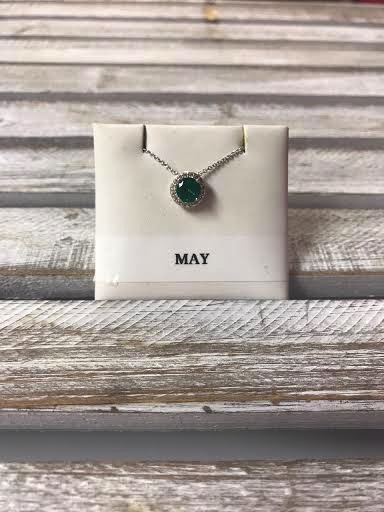May Halo Birthstone Necklace