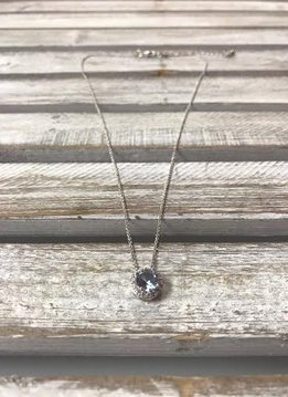 March Halo Birthstone Necklace