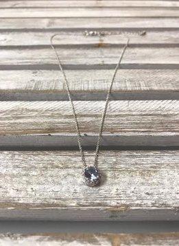 March Halo Birthstone Necklace