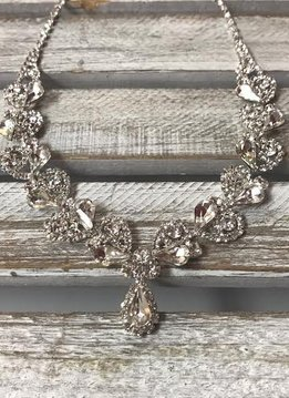 Sparkly Tear Drop and Round Rhinestone Necklace