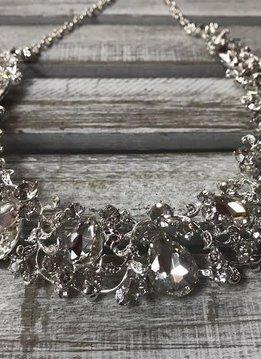 Sparkly Rhinestone Leaf Bib Necklace